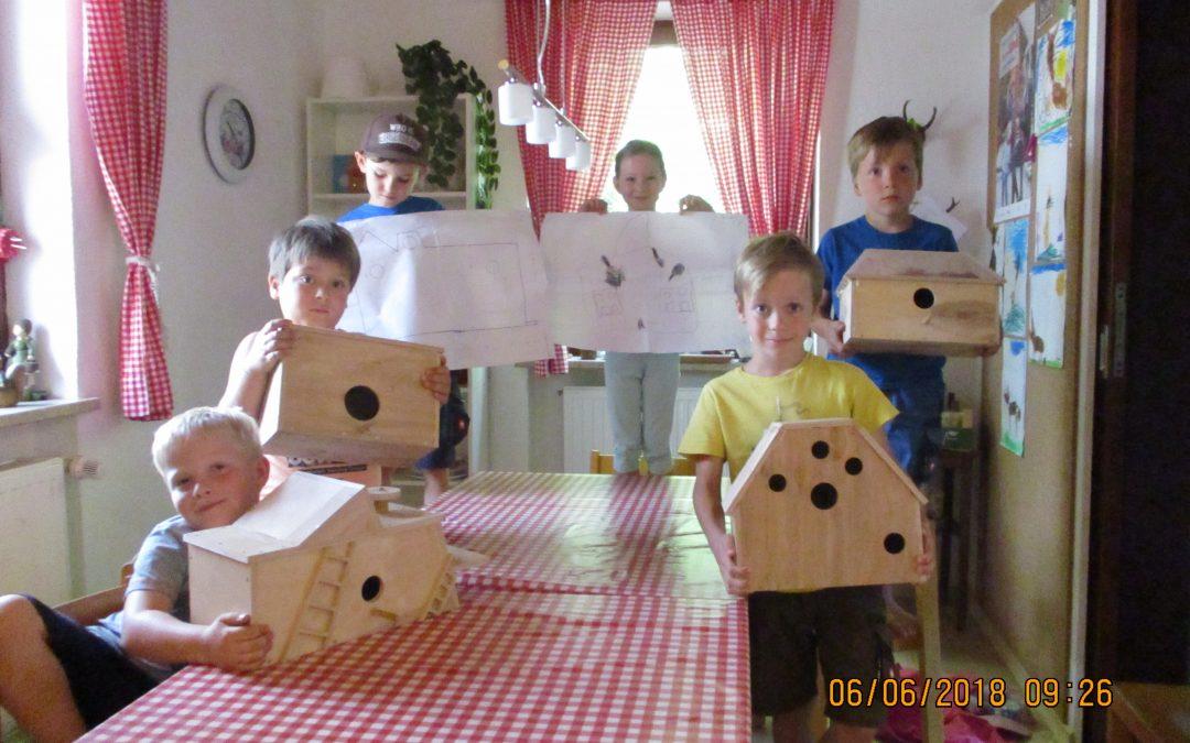 Unsere Vorschulkinder bauen Vogelhäuser